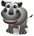 funny rhino cartoon vector image vector image