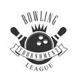 bowling tournament league vintage label black and vector image