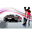car sedan and two girls composition vector image vector image