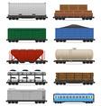 set railway carriage 02 vector image