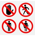 set of prohibition signs the passage vector image vector image