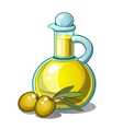 Bottle of olive oil and two green olives with leaf vector image