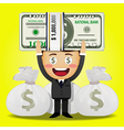 happy man carrying big stack of money vector image
