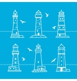 icon or logo set of white lighthouses vector image