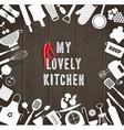 Kitchen set icon on wooden texture vector image