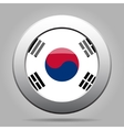 metal button with flag of South Korea vector image