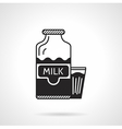 Milk bottle and glass black icon vector image