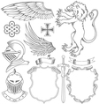 set of knight heraldic elements vector image
