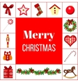Christmas greeting card with different symbols vector image
