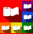 toilet paper sign  set of icons with flat vector image