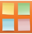 Colorful Paper Notes On Striped Orange Background vector image