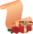 rose and gift on the background of a congratulator vector image vector image