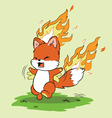 Fox on Fire vector image