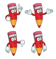 Thinking cartoon pencils set vector image vector image