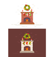 Christmas fireplace isolated in flat style vector image vector image
