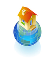 Globe and house concept vector image