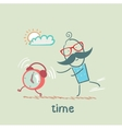 man catching clock vector image vector image