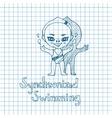 Sketch Girl Synchronized Swimmer vector image