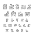 Set line icons of machine tool robotic industry vector image