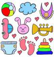 doodle of element baby set vector image