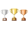 Golden silver bronze trophy set vector image