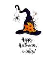 happy halloween text greeting card witch hat vector image