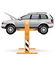 Repair car on a lift vector image