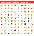 100 autumn holidays cons set isometric 3d style vector image