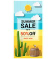 summer sale background with cactus in desert vector image