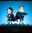 blue superhero man and woman vector image