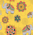 seamless with indian elephants vector image