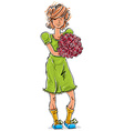 Bright full-length hand-drawn Caucasian teen with vector image