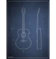 blueprint drawing six-acoustic guitar vector image vector image