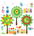 birds flowers and insects vector image
