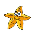 Cartooned yellow star fish with smiling face vector image