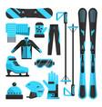 flat icons set of skiing skating and vector image