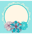 Greeting card with hand-drawn flowers vector image