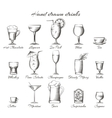 Hand drawn alcoholic and non-alcoholic drinks vector image