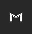 M letter logo line monogram modern concept idea vector image