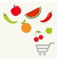 Organic fruits and vegetables falling into the vector image