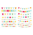 party flags buntings brushes for creating vector image