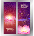 set of two happy diwali vertical banners with vector image