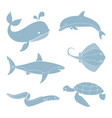 silhouettes of sea creatures vector image