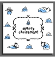 Merry chrismas card with cute doodle walrus seal vector image