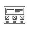 wireframe in screen lined icon website page in vector image