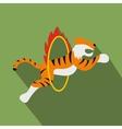 Tiger in flaming hoop vector image