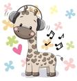 Giraffe with headphones vector image