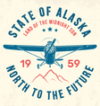 alaska t shirt with old airplane and mountains vector image