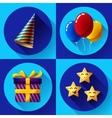 Celebrating birthday party flat icon set vector image
