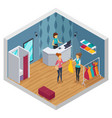 colored trying shop isometric interior vector image